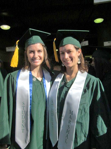 <p>SOEST student ambassadors Laura Corley and Kimberley Mayfield at the University of Hawaii at Manoa's commencement ceremony. May 11, 2013</p>
