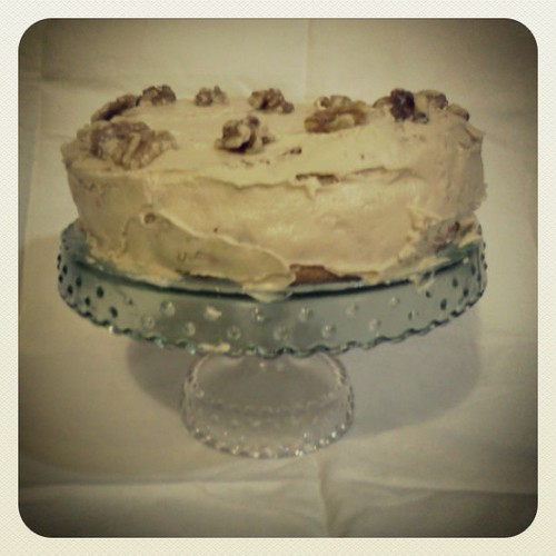 Coffee & walnut cloud cake
