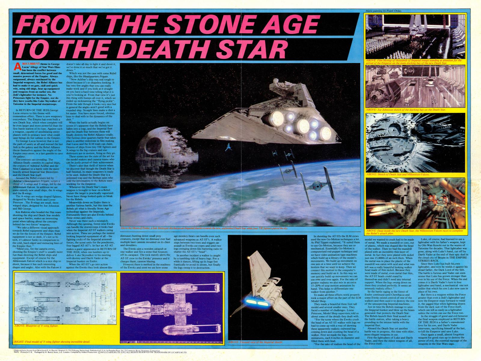 star wars return of the jedi poster magazine 3 death star endor ewok at-st star destroyer y-wing shuttle tydirium