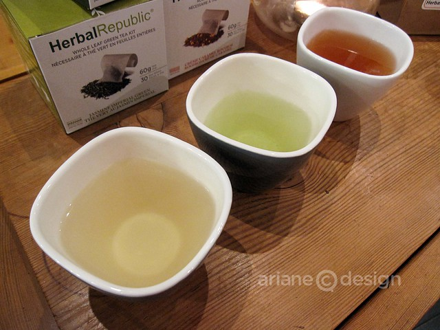L to R: Ginger Fresh, Gyokuro Supreme, Berrydale Honeybush (goji and strawberry) teas