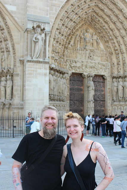 Fuzzy and Erica outside the Notre Dame