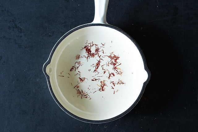 Toasting saffron from Food52