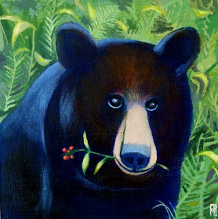 Bear with me, acrylics,10 x 10 inches