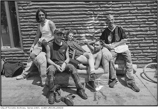 Group of 'squeegee kids' on a couch, south-east corner of Queen Street West and Bathurst Street