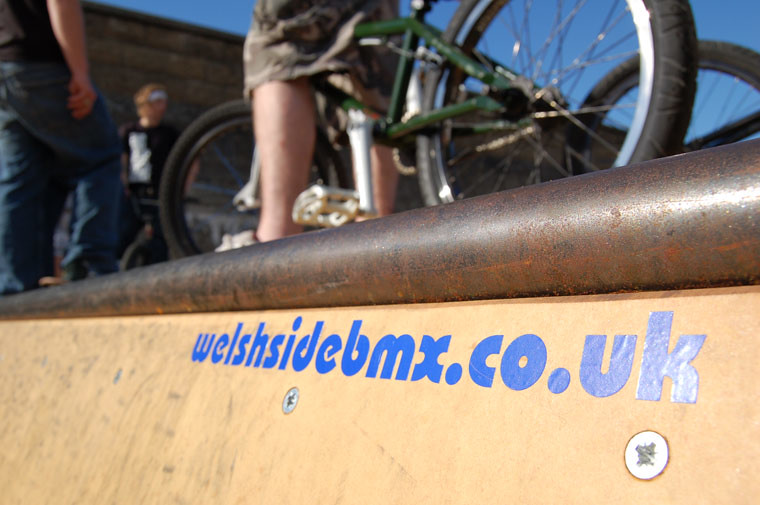 welshside bmx sticker on a ramp at the knap skatepark, Barry