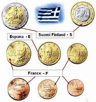 Sada 8 Euro mincí Grécko 2002 s písmenami E-F-S