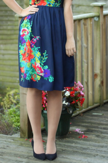ASOS cardigan, dress, heels