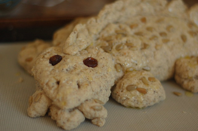 our gluten-free dragon, ready for the oven