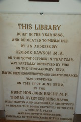 Photo of George Dawson, John Bright, Birmingham Central Library, and Birmingham Central Library stone plaque