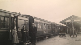 Mum leaves by train (from Limerick Junction station ?) to Waterford after a visit to the Mulcahy family Of Rathwood, Abington, Ireland, 1947