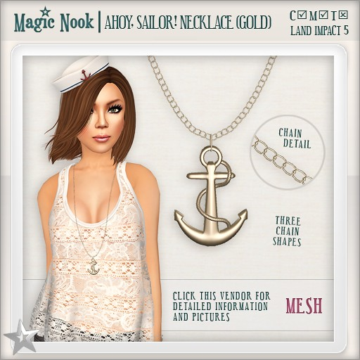 [MAGIC NOOK] Ahoy, Sailor! Necklace (Gold) MESH