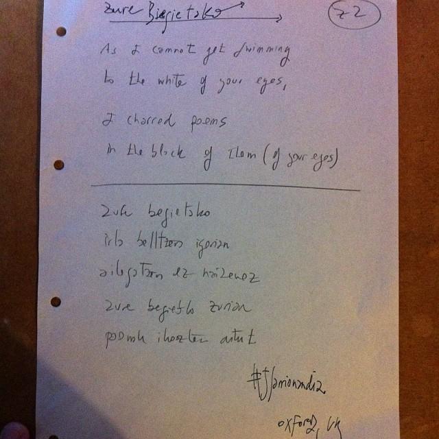 Zure Begietako poem JSarrionandia