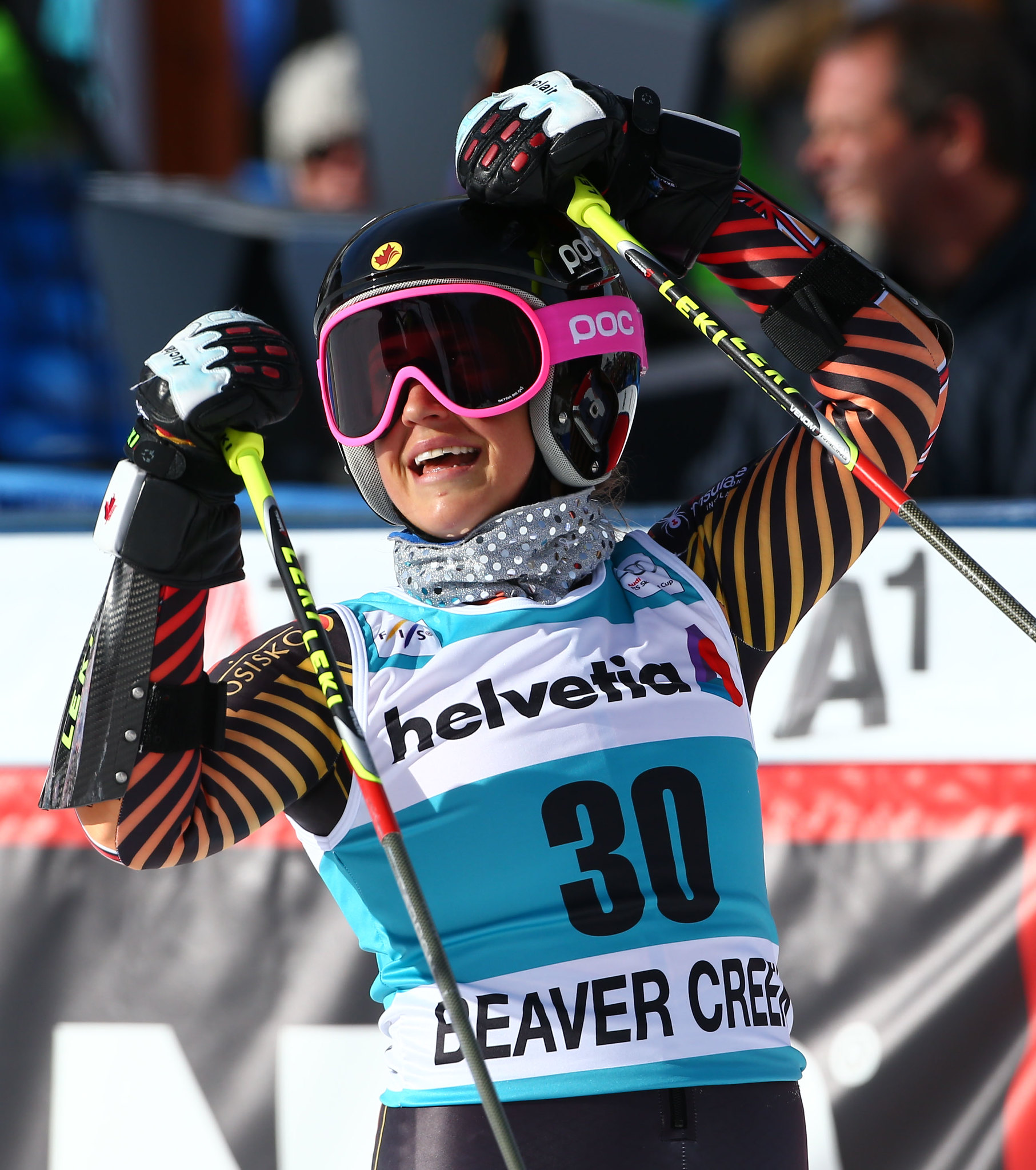 Marie-Pier Préfontaine celebrates a 9th place finish in the giant slalom at the FIS Alpine World Cup in Beavercreek, U.S.