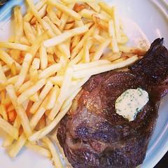 meal, lunch, steak, grilling, pork chop, rib eye steak, meat, sirloin steak, steak frites, french fries, food, dish, cuisine,