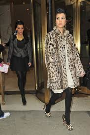 Kourtney Kardashian Leopard Print Coat Celebrity Style Women's Fashion