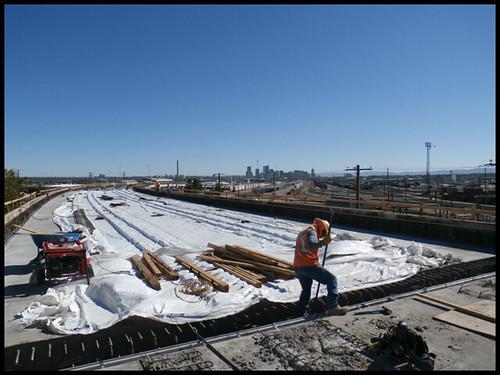 Photo of worker on the deck of the Utah Junction Bridge