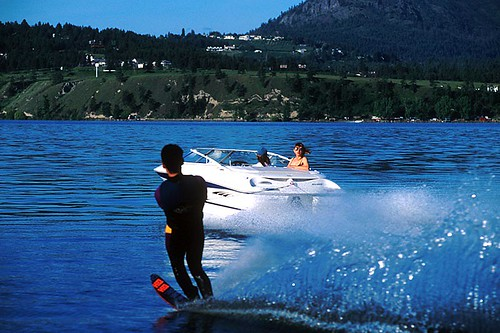 Waterskiing on Okanagan Lake, Okanagan Valley, British Columbia, Canada