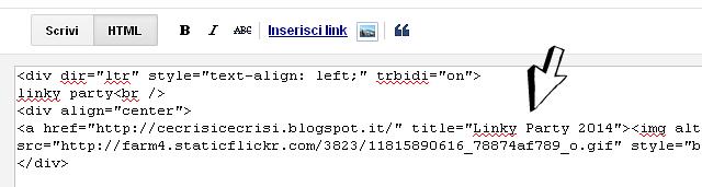 incolla codice banner nel post in html