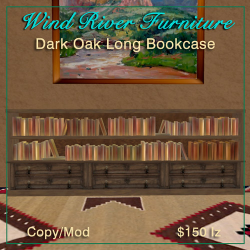 Long low bookcases by Teal Freenote