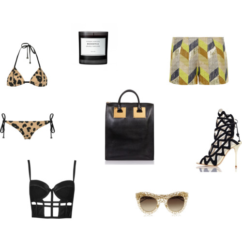 valentinesday shopping guide, featuring Trianl Bikinis, Sophie Hulme Tote, Sass and Bide, Topshop