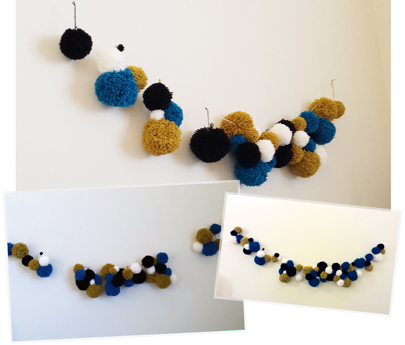 DIY pom pom wall decor by LauraKateIsCrafty