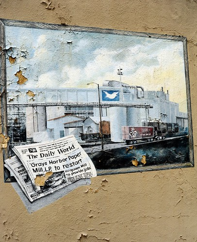 The Daily World, 'Grays Harbor Paper Mill, L.P. to restart, Hoquiam Mill to provide jobs, newspaper, wall mural, peeling paint, exterior, Washington, USA by Wonderlane