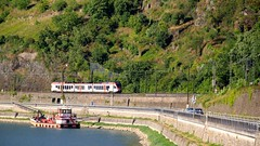 Train near the Loreley Rock on the Rhine
