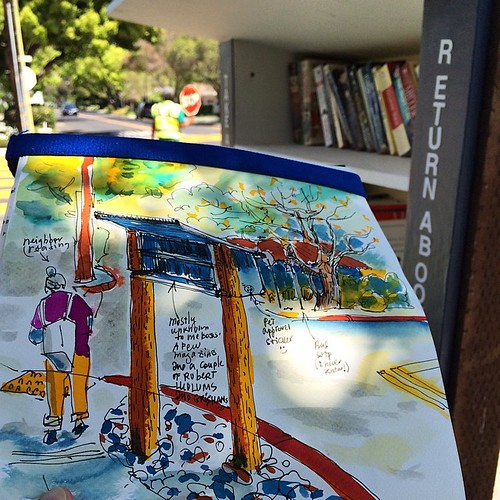 Take a Book - Return a Book #urbansketching #paloalto #california