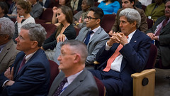 Secretary Kerry Watches His Daughter, Dr. Vanessa Kerry, Speak on Health Diplomacy