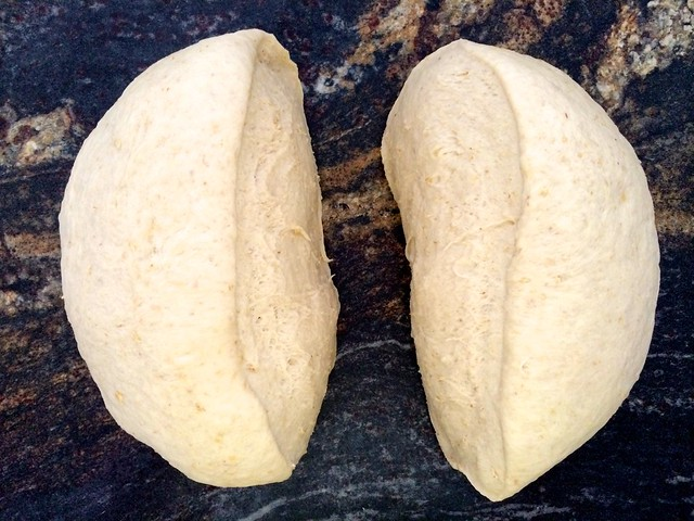 Deflated Dough Split in Half