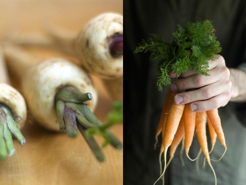 Pastinacas e cenouras