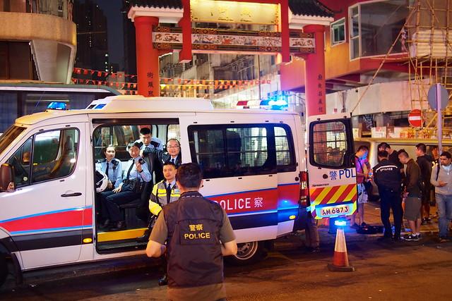 actors playing policemen, Hong Kong (Kowloon)