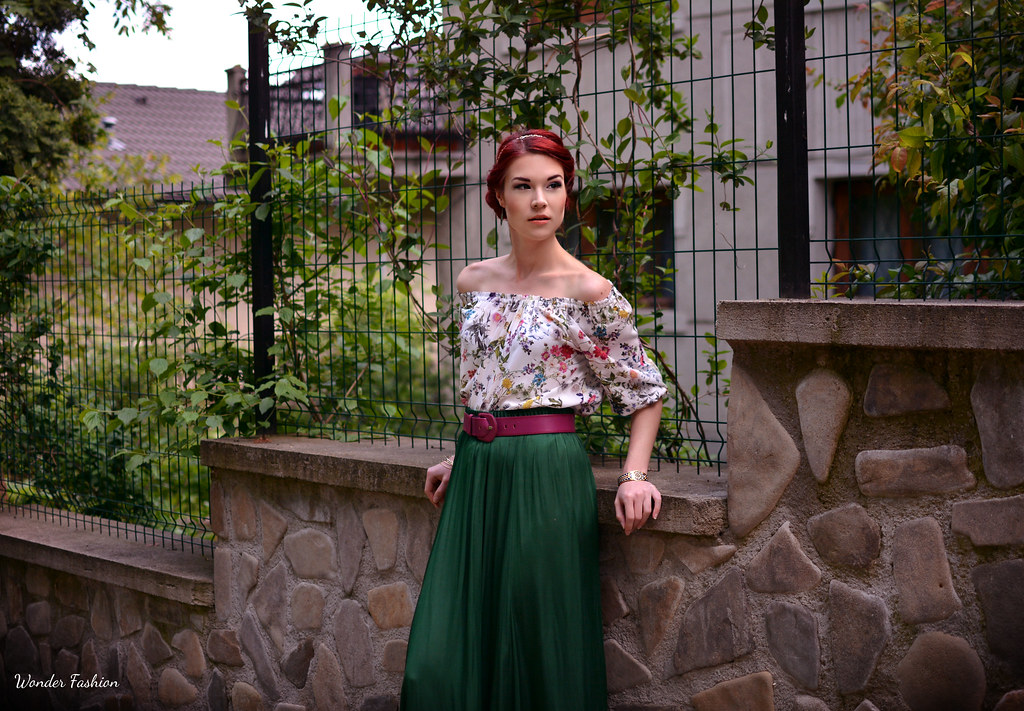 silk green skirt