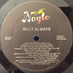 BILLY ALWAYS:BILLY ALWAYS(LABEL SIDE-A)