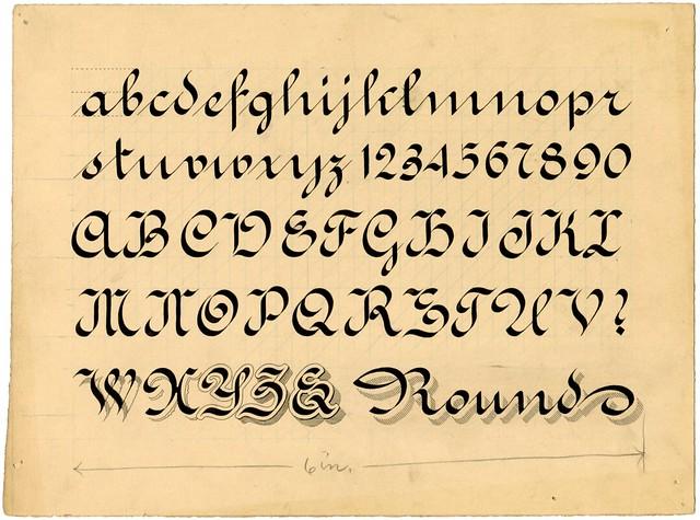 Penmanship alphabet example - Round Letter