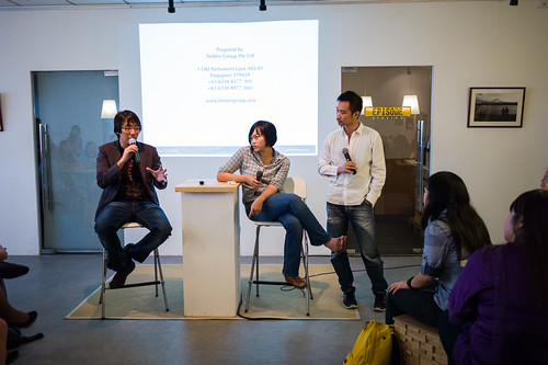 Entrepreneurs for change - Edward, Shiao-Yin and Kenny take the stage during the Q&A session.