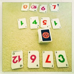 Skip-Bo with the boy. He's learning and I'm going easy on him