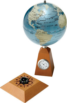 clock compass and globe