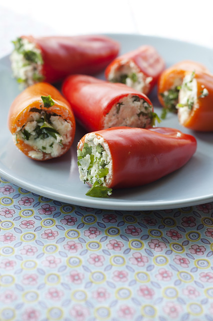 herbed feta stuffed mini peppers