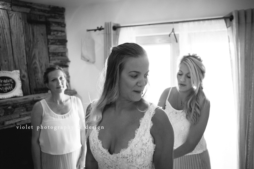 Bride reacts to seeing herself for the first time in wedding dress