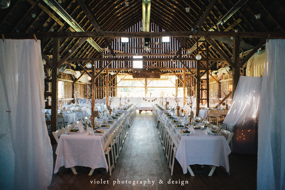 Dining area in a barn