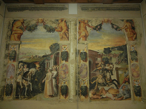 DSCN3369 _ Affreschi staccati da palazzo  Torfanini, Alcina riceve Ruggero nel suo castello (l), Niccolò  dell'Abate, c 1548-50