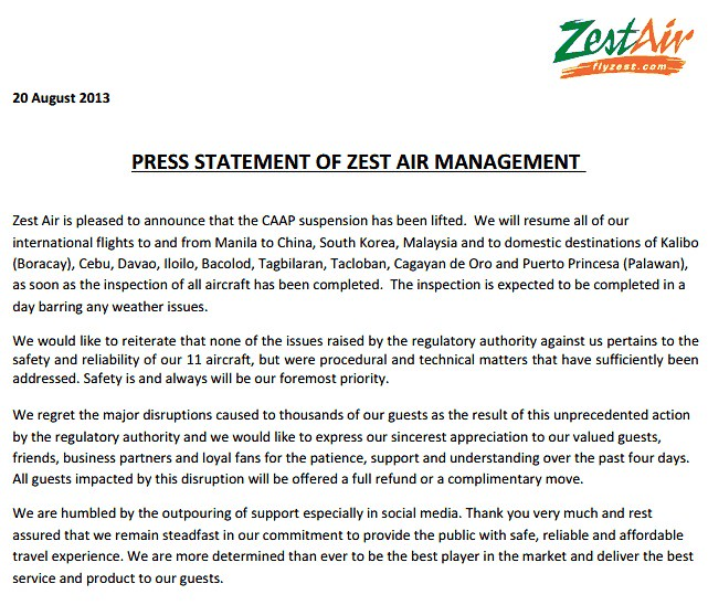 ZEST AIR STATEMENT