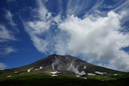 show blue summer sky cloud white snow japan landscape hokkaido smoke bluesky craters volcanoes asahikawashi sonya99 daisetszan