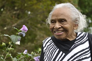 At 98 years old, Olivia Hooker recalled her experiences as one of the first African American female members in the Coast Guard SPAR program during World War II. Hooker is a native of White Plains, N.Y., and received her doctorate as a school psychologist. U.S. Coast Guard photo by Petty Officer 3rd Class Ali Flockerzi.