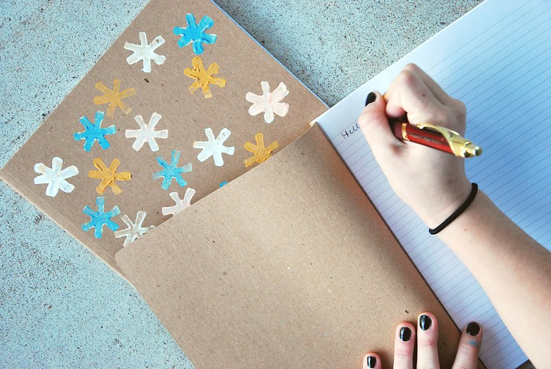 DIY potato print notebooks