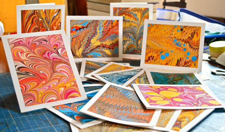 handmade marbled cards