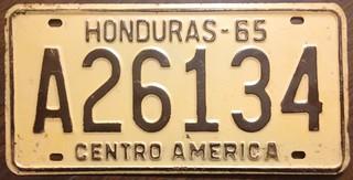 HONDURAS 1965 ---LICENSE PLATE