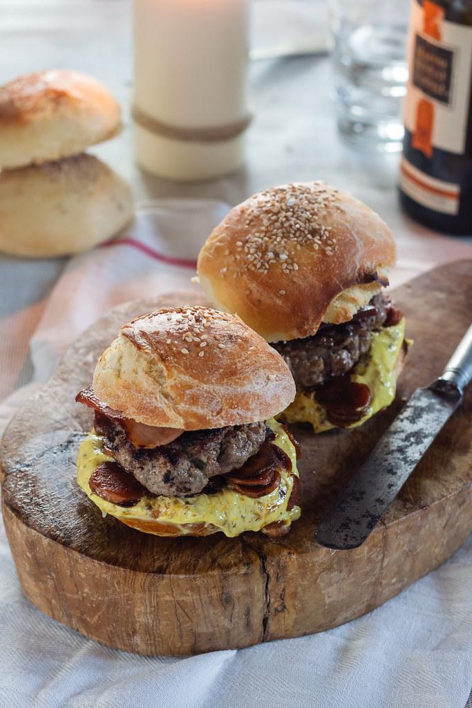 caper hamburgers and home made sesame buns. Black Bedroom Furniture Sets. Home Design Ideas