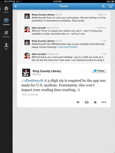 King County Library Service twitter discussion